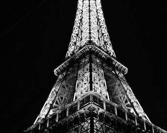 Fine Art Photography Eiffel Tower Tour at night 8x12 (8x10 possible) black and white