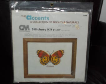 Vintage 1981 Columbia Minerva Yellow Butterfly Embroidery Kit 7288