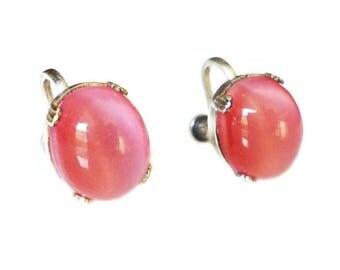 Art Deco Pink Moonstone Stud Earrings - Silver Tone, Art Deco Jewelry, Art Deco Jewelry, Antique Jewelry