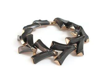 Lucite Herringbone Bracelet, Unsigned Trifari, Black Plastic, Wishbone Style, Modernist Jewelry, Vintage Bracelet