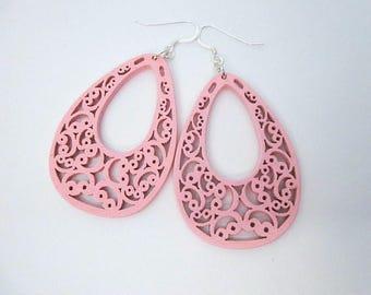 Unique Pink Earrings -- Big Pink Earrings -- Pink Wood Dangles -- Pink Laser Earrings -- Flat Pink Earrings -- Light Pink Wood Earrings