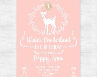 winter onederland invitations / 1st birthday party invites / birthday invitation for girls / Printable digital file or printed invites