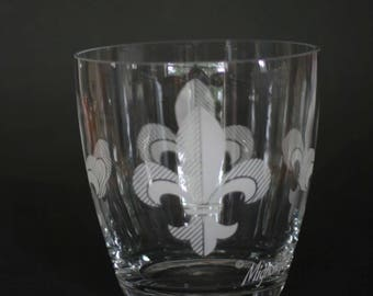vintage mignon faget glass ice bucket with fleur de lis