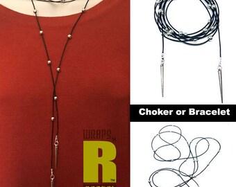 Leather Wrap Choker, Bead Choker Wrap Necklace, Spike Necklace, Wrap Choker, Boho Wrap Bracelet, Lariat Necklace, Tie Necklace, Lariat