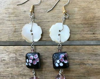 Cherry Blossom Mother of Pearl Earrings One of A Kind