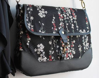 Messenger crossbody bag - zipper closure - black beige - Aki