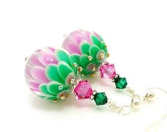 Pink Green Lotus Flower Earrings, Lampwork Earrings, Glass Bead Earrings, Unique Earrings, Glass Art Earrings, Flower Earrings