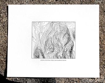 Acadia Bar Harbor Topo Map Letterpress 8x10 Print