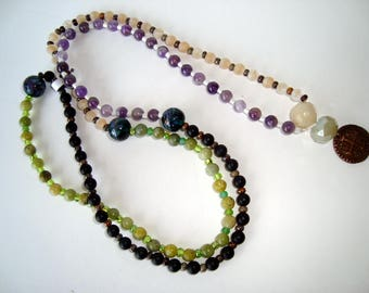 MALA Bead Necklace, Ancient Coin Guru Bead, Amethyst, Agate and Jade Gemstones, White, Green, Black, Purple, 108 Beads,Yoga,Meditation Beads