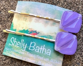 Jacaranda Hair Clips Shelly Batha Island Fused Glass Hawaii
