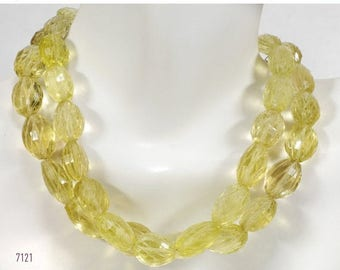 ON SALE Lemon Quartz Oval Beads Center Drilled Step Faceted and Carved Puffed Oval Beads - 4 Inch Strand - 9 Beads - 10x8 to 13x9mm