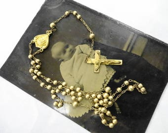 Antique Old Baby Doll Gold Metal Beaded Rosary Necklace Prayer Faith Christian Religious Catholic PLUS Tintype Photograph