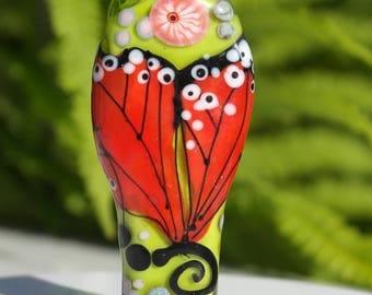 Glass focal butterfly bead , lampwork glass bead , butterfly bead , green red , meadow, artisan focal bead ,