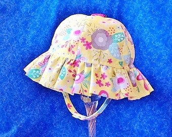 Yellow Baby Sun Hat Flowers and Butterflies
