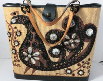 Enid Collins Fine Feathers Handbag 1966 Replaced Stones