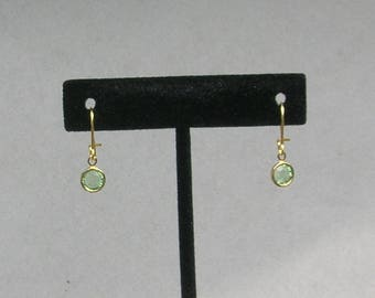 August Birthstone- Peridot Drop GP Earrings