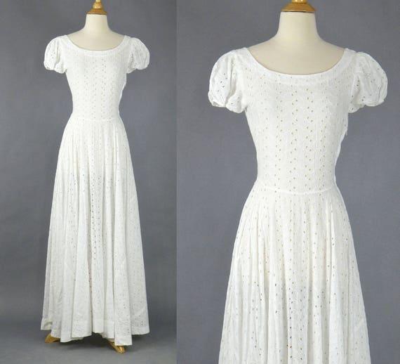 1940s White Eyelet Dress Vintage 40s Dress White Cotton