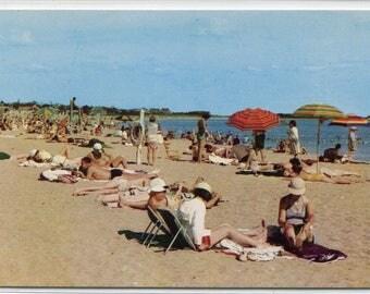 Craigville Beach Scene People Cape Cod Massachusetts postcard