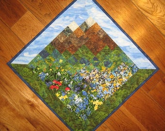 Blue Skies Summer Mountain Flowers Diagonal Art Quilt Wall Hanging, Textile Landscape Office Decor 29 x 29""