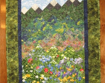 "Tahoe Mountain Flowers Fabric Wall Hanging, Textile Art Quilt, 26.5 x 42"" 100% Cotton Fabrics"