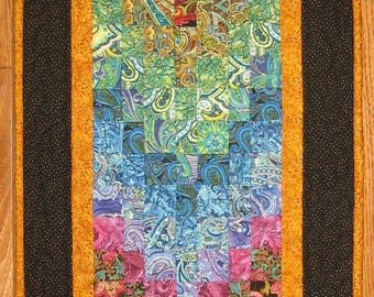 Art Quilt, Paisley Passion Quilted Wall Hanging, 17 x 44 Textile 100% Cotton Fabric