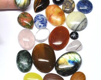 Grooved Cabochons Mix Natural Gemstones Macrame Supply Micromcramé Wire Creative Jewelry - 20 Cabs - 10.0-34.0 mm - 492.4 ct - 170529-07