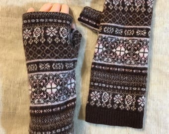 Brown pink blue cashmere fingerless gloves thumb printed pattern upcycled Cashmere Fingerless Mittens Wrist Warmers gloves organic material