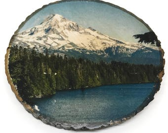 "Mount Hood Wood Photo Transfer Art Bark Round 4"" - Photography at Lost Lake"