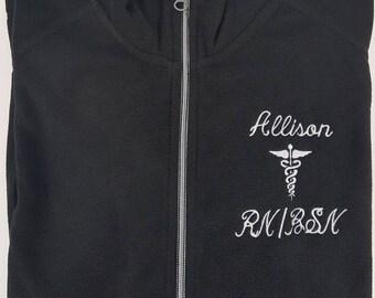 Registered Nurse Jacket Black with Caduceus Ladies Lightweight Fleece Full Zip Customized