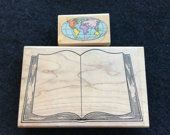 Open Book Rubber Stamp-Globe-World Map Rubber Stamp-Book Party-Open Bible Image-Vintage-Collectible Rubber Stamps-Planners-Bible Journal