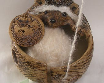 Stoneware  Hedgehog Yarn Bowl No. 2 Comes With A Button Gift