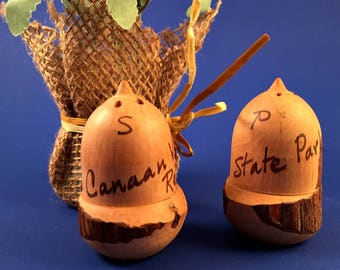 Vintage ACORNS Wood Carved Salt and Pepper Shakers Retro Canann State Park