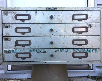 Large Vintage metal 4 Drawer parts cabinet