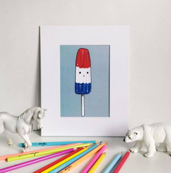Classic Red, White, and Blue Popsicle Print on Blue