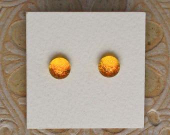 Dichroic Glass Earrings, Petite, Marigold DGE-1144