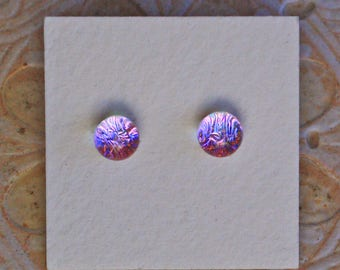 Dichroic Glass Earrings , Petite, Pink Lavender  DGE-1218