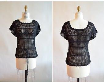 25% off Storewide // Vintage black CROCHET blouse
