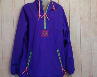 Vintage 90s SKYR Purple Pullover Nylon Windbreaker Jacket Ladies Small