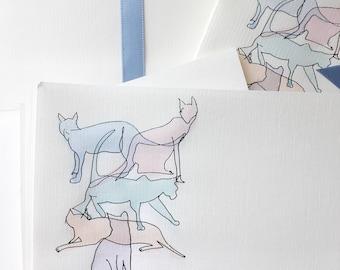 vintage cat stationery set - hand-painted watercolor kitties - 1980s notecards envelopes art paper - artist gail mcguire