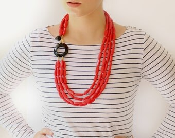 Red necklace, Bold statement Necklace, Handmade multi strand Beaded necklace, Layered Unique women's jewelry