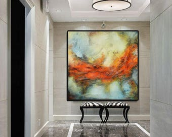 Red blue gray abstract print, red orange modern painting, abstract landscape, large print on canvas, modern unique elegant painting