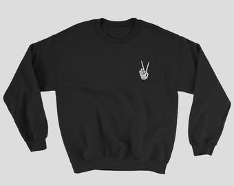 Skeleton Peace Sign Unisex Crew Neck Sweater