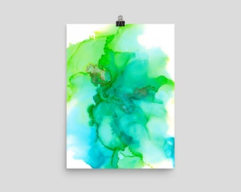Ocean View - Alcohol Ink Fluid Art Abstract Original Art PRINT on Photo paper poster