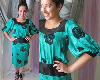 REDUCED PRICE Silk Dress, Flora Kung, Dropped Waist, Vintage 80s, FABULOUS