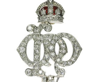 Red enamel diamond pin brooch platinum brilliant cut diamonds 1.00ct Crest of the 4th Queen's Own Hussars vintage Art Deco 1920s jewelry