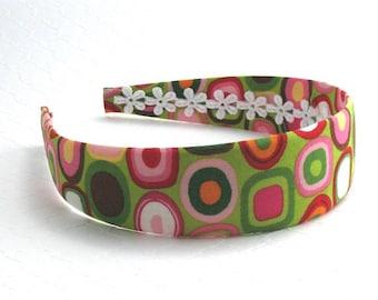 Adult Womens Headband ~ Girls Wide Plastic Fabric Covered Headband ~ Colorful Preppy Geometric Pattern Fabric Covered Headband