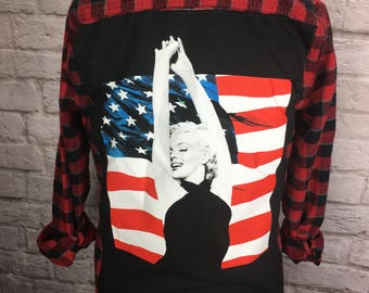 Marilyn Monroe Recycled Upcycled T Shirt Flannel Shirt size small