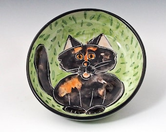 Tortoiseshell Calico Cat Ceramic Feeding Dish - Shallow Bowl - Pet Food Water Bowl, Majolica Bowl - Handmade Pet Bowl - Dark Tortie Cat Bowl