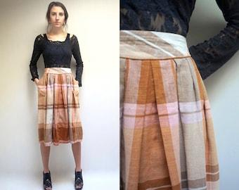 Plaid Linen Skirt //  High Waist Linen Skirt  //  Linen Pleated Skirt  //   Midi Linen Skirt  //  High Waist Pocket Skirt  // THE ARMAGH