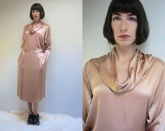 Silky Dress  // Long Sleeve Silk Dress // Top and Skirt Set  //  Minimalist Silk Dress // Cowl Neck Dress // Silk Two Piece Set // TRUE SILK
